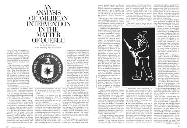 Article Preview: AN ANALYSIS OF AMERICAN INTERVENTION IN THE MATTER OF QUEBEC, November 1972 | Maclean's