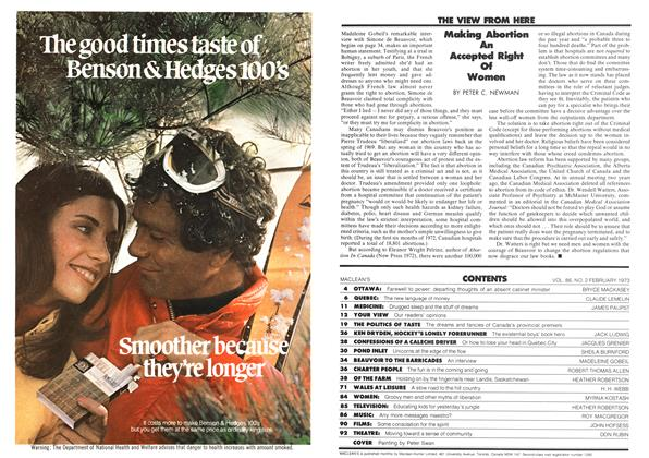Article Preview: Making Abortion An Accepted Right Of Women, February 1973 | Maclean's