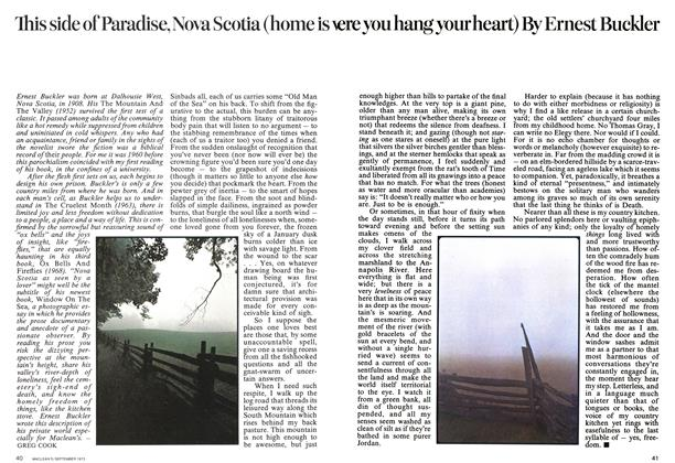 Article Preview: This side of Paradise, Nova Scotia (home is were you hang your heart), September 1973 | Maclean's