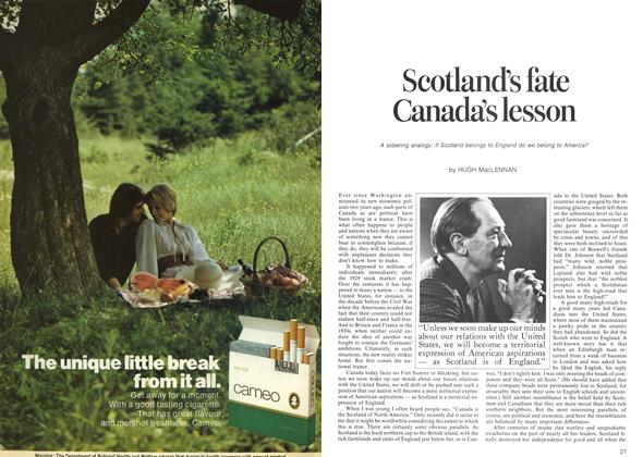 Article Preview: Scotland's fate Canada's lesson, October 1973 | Maclean's