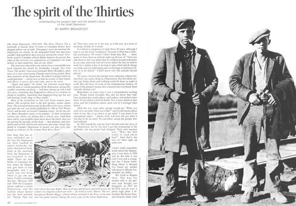 Article Preview: The spirit of the Thirties, November 1973 | Maclean's
