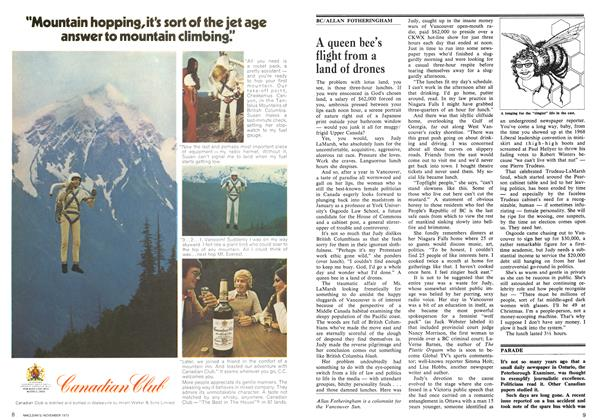 Article Preview: A queen bee's flight from a land of drones, November 1973   Maclean's