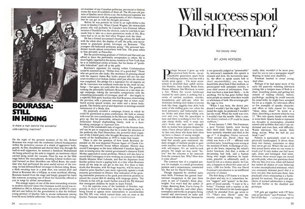 Article Preview: Will success spoil David Freeman?, February 1974 | Maclean's