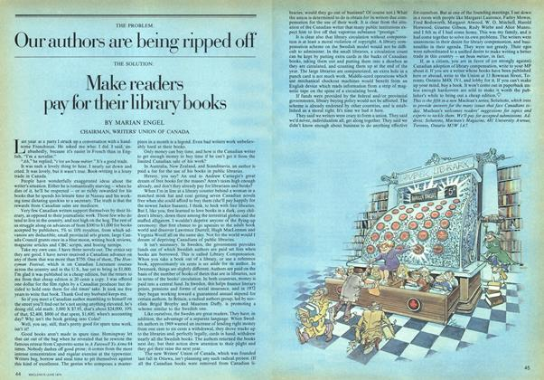 Article Preview: THE PROBLEM: Our authors are being ripped off THE SOLUTION: Make readers pay for their library books, June 1974 | Maclean's