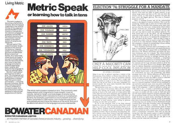 Article Preview: ONLY A MAJORITY CAN HELP COOL INFLATION, July 1974 | Maclean's