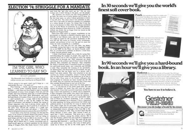 Article Preview: I'M THE GIRL WHO LEARNED TO SAY NO, July 1974   Maclean's