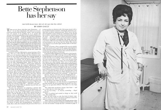Article Preview: Bette Stephenson has her say, August 1974 | Maclean's
