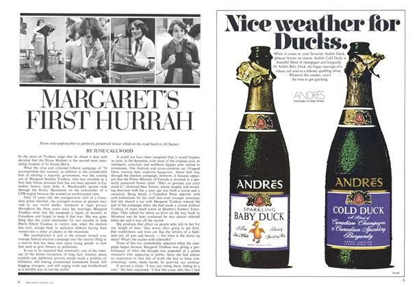 Article Preview: MARGARET'S FIRST HURRAH, August 1974 | Maclean's