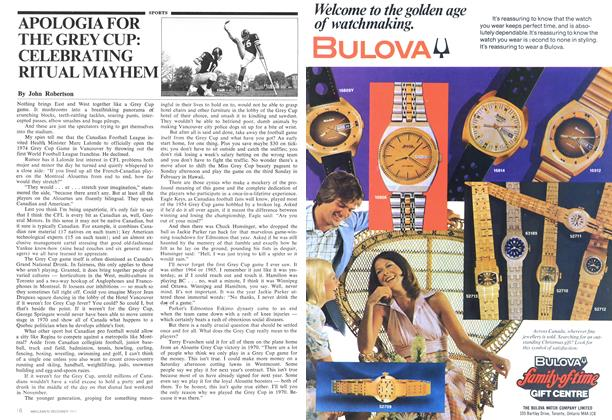 Article Preview: APOLOGIA FOR THE GREY CUP: CELEBRATING RITUAL MAYHEM, December 1974 | Maclean's