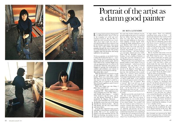 Article Preview: Portrait of the artist as a damn good painter, January 1975 | Maclean's