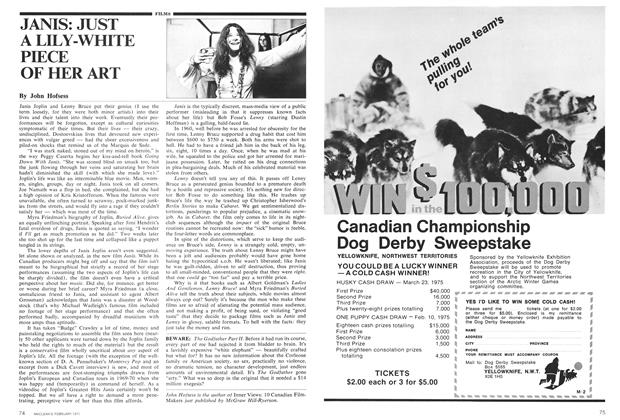 Article Preview: JANIS: JUST A LILY-WHITE PIECE OF HER ART, February 1975 | Maclean's