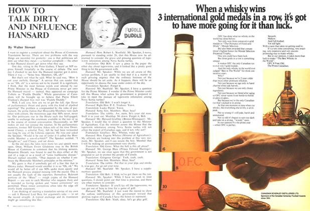 Article Preview: HOW TO TALK DIRTY AND INFLUENCE HANSARD, August 1975 | Maclean's