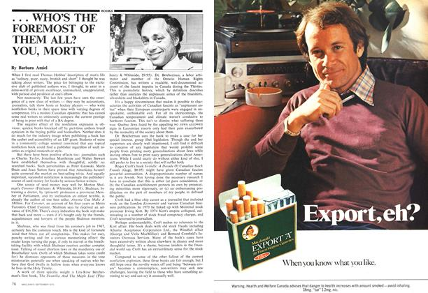 Article Preview: . . . WHO'S THE FOREMOST OF THEM ALL? YOU, MORTY, September 1975 | Maclean's