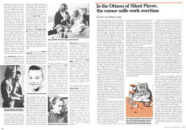 Article Preview: In the Ottawa of Silent Pierre, the rumor mills work overtime, October 1975 | Maclean's