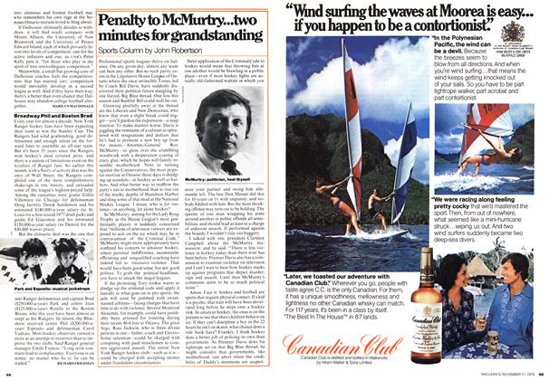 Article Preview: Penalty to McMurtry...two minutes for grandstanding, November 1975 | Maclean's