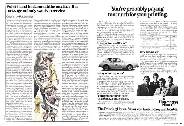 Article Preview: Publish and be damned: the media as the message nobody wants to receive, April 1976 | Maclean's