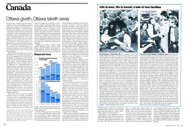 Article Preview: Ottawa giveth, Ottawa taketh away, April 1976 | Maclean's