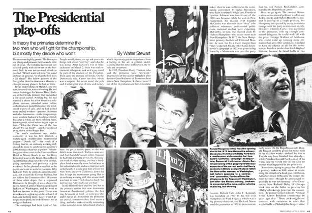 Article Preview: In theory the primaries determine the two men who will fight for the championship, but mostly they decide who won't, April 1976 | Maclean's