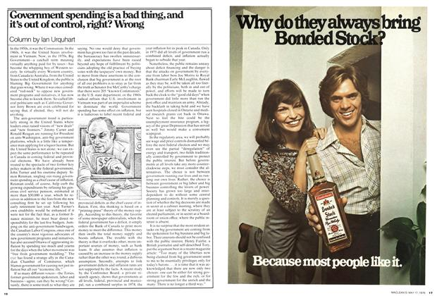 Article Preview: Government spending is a bad thing, and it's out of control, right? Wrong, May 1976   Maclean's