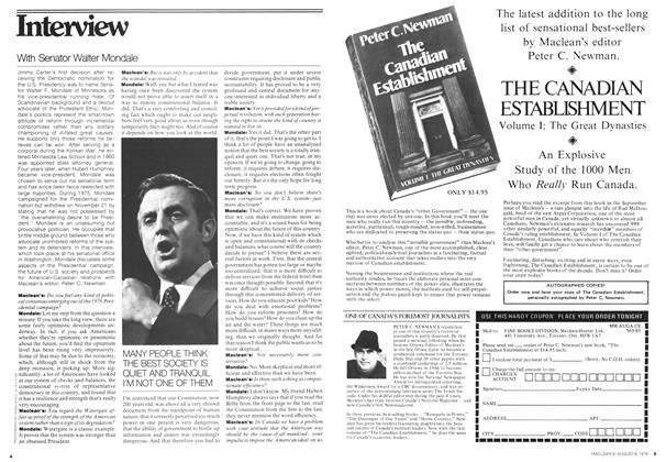 Article Preview: Interview With Senator Walter Mondale, August 1976 | Maclean's
