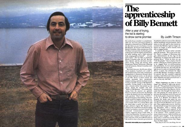 Article Preview: The apprenticeship of Billy Bennett, September 1976 | Maclean's
