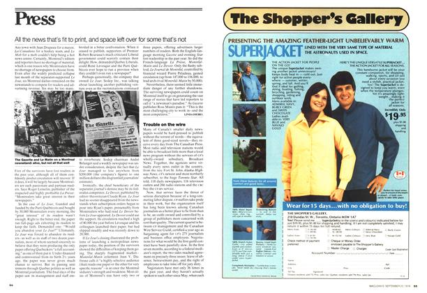 Article Preview: All the news that's fit to print, and space left over for some that's not, September 1976 | Maclean's