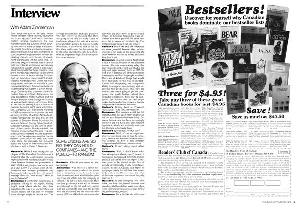 Article Preview: Interview With Adam Zimmerman, September 1976 | Maclean's