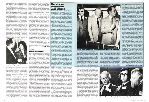 Article Preview: The strange departure of Jake Warren, March 1977 | Maclean's