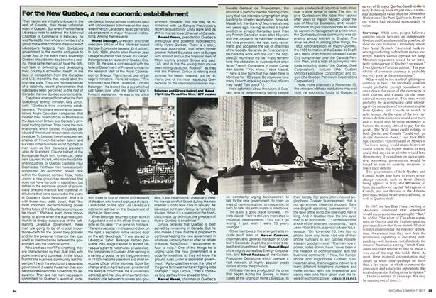Article Preview: For the New Quebec, a new economic establishment, March 1977 | Maclean's