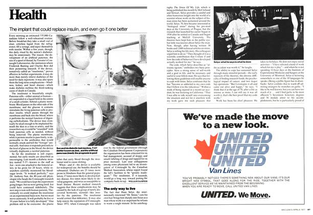Article Preview: The implant that could replace insulin, and even go it one better, April 1977 | Maclean's