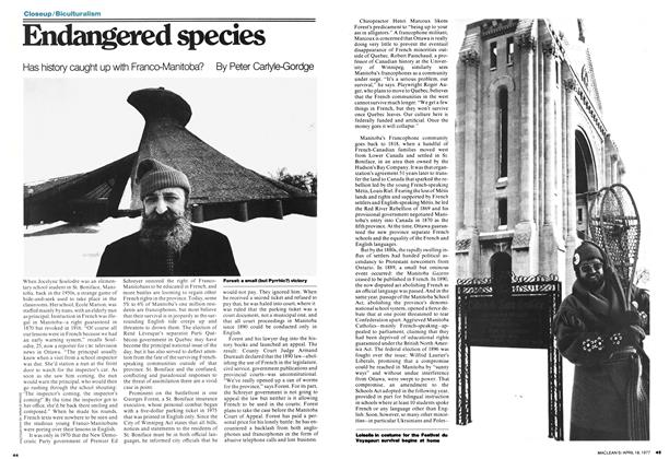 Article Preview: Endangered species, April 1977 | Maclean's