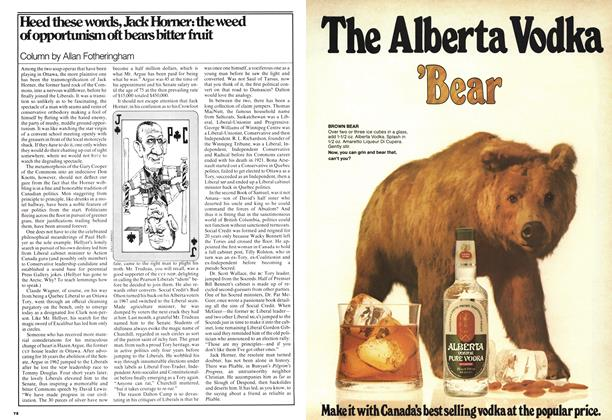 Article Preview: Heed these words, Jack Horner: the weed of opportunism oft beats bitter fruit, May 1977 | Maclean's