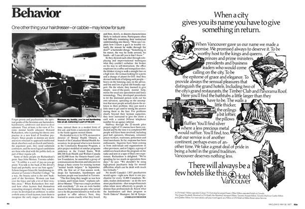 Article Preview: One other thing your hairdresser-or cabbie -may know for sure, May 1977 | Maclean's