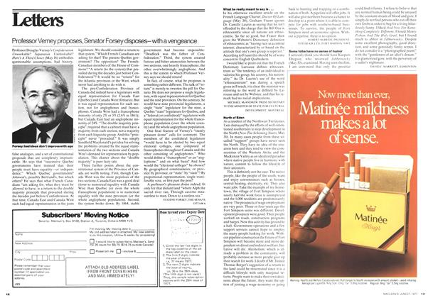 Article Preview: Professor Verney proposes, Senator Forsey disposes-with a vengeance, June 1977 | Maclean's