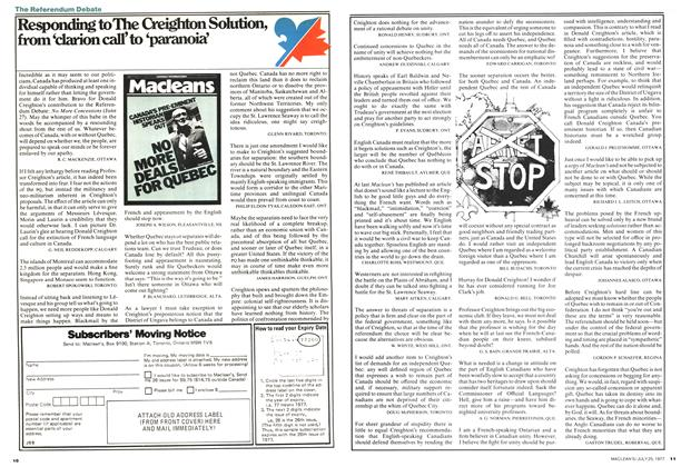 Article Preview: Responding to The Creighton Solution, from 'clarion call' to 'paranoia', July 1977 | Maclean's
