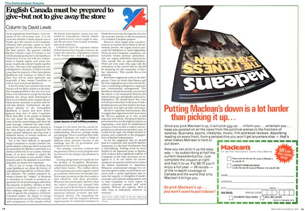Article Preview: English Canada must be prepared to give-but not to give away the store, August 1977 | Maclean's