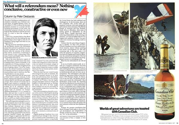 Article Preview: What will a referendum mean? Nothing conclusive, constructive or even new, October 1977 | Maclean's