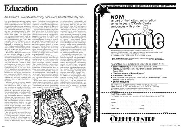 Article Preview: Are Ontario's universities becoming, once more, haunts of the very rich?, October 1977 | Maclean's