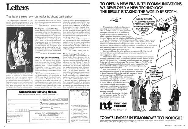 Article Preview: Letters, OCT0BER17 1977 1977 | Maclean's