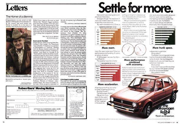 Article Preview: Letters, November 1977 | Maclean's