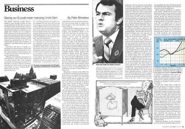 Article Preview: Saving our $ could mean marrying Uncle Sam, December 1977 | Maclean's