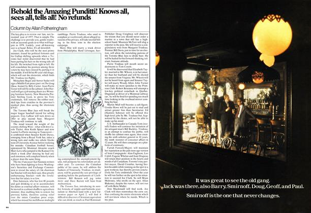 Article Preview: Behold the Amazing Punditti! Knows all, sees all, tells all! No refunds, January 1978 | Maclean's