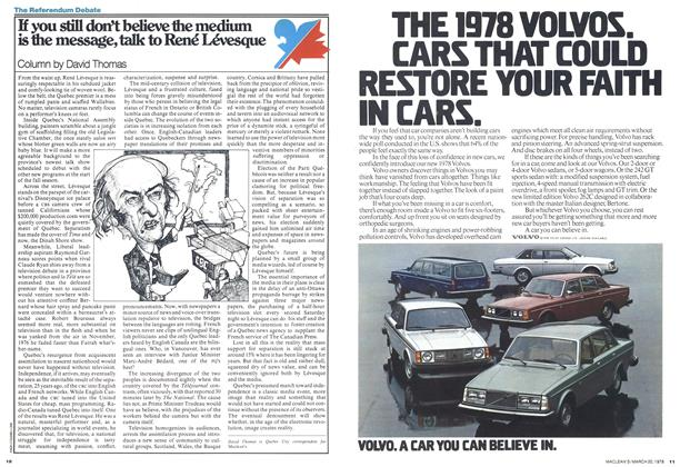 Article Preview: If you still don't believe the medium is the message, talk to René Lévesque, March 1978 | Maclean's