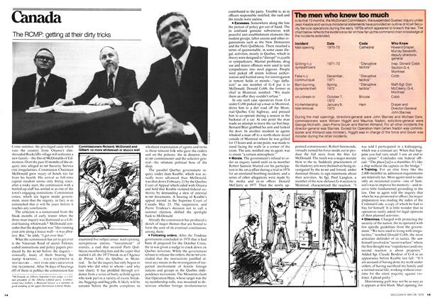 Article Preview: The RCMP: getting at their dirty tricks, May 1978 | Maclean's