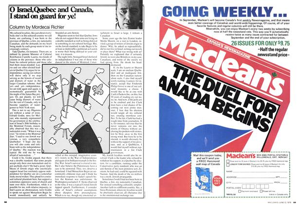 Article Preview: O Israel, Quebec and Canada, I stand on guard for ye!, June 1978 | Maclean's