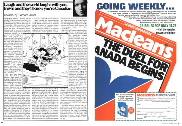 Article Preview: Laugh and the world laughs with you, frown and they'll know you're Canadian, JUNE 26,1978 1978 | Maclean's