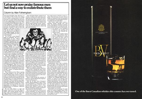 Article Preview: Let us not now praise famous men but find away to redistribute them, JUNE 26,1978 1978 | Maclean's