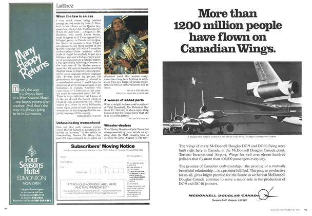 Article Preview: Letters, September 1978 | Maclean's