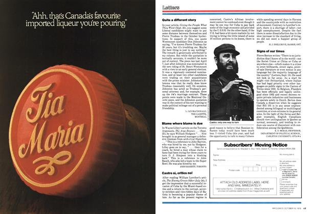 Article Preview: Letters, October 1978 | Maclean's