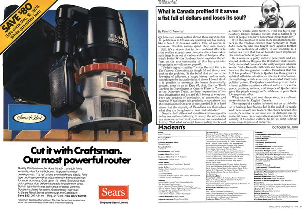 Article Preview: What is Canada profited if it saves a fist full of dollars and loses its soul?, October 1978 | Maclean's